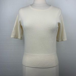 Pure Collection Cashmere Sweater Top Ivory Crop